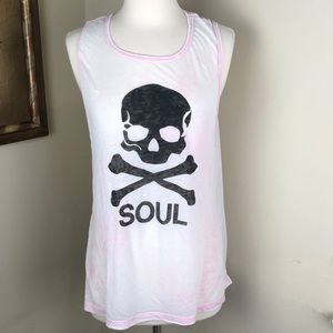 SoulCycle washed out pink skull tank